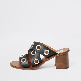 River Island Black leather eyelet block heel mules