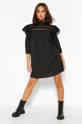 boohoo Lace Trim Layered Sleeve Smock Dress