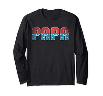 Father's Day Papa American Flag 4th of July Men Grandpa USA Long Sleeve T-Shirt