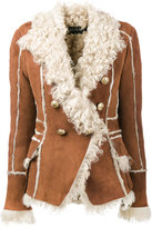Balmain double breasted shearling coat