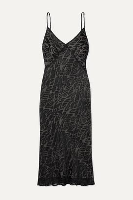 Olivia von Halle Maleficent Issa Atora Devore-chiffon Midi Dress - Black