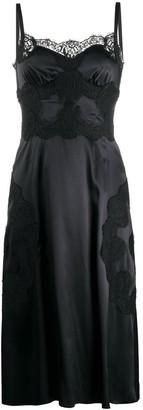 Dolce & Gabbana Satin Lace-Trim Dress