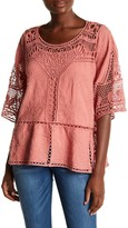 Democracy Embroidered Crochet Trim Top