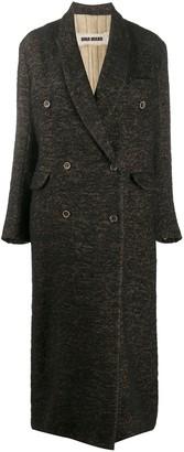 UMA WANG Double-Breasted Herringbone Coat