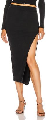 JONATHAN SIMKHAI STANDARD Side Zip Midi Skirt in Black | FWRD