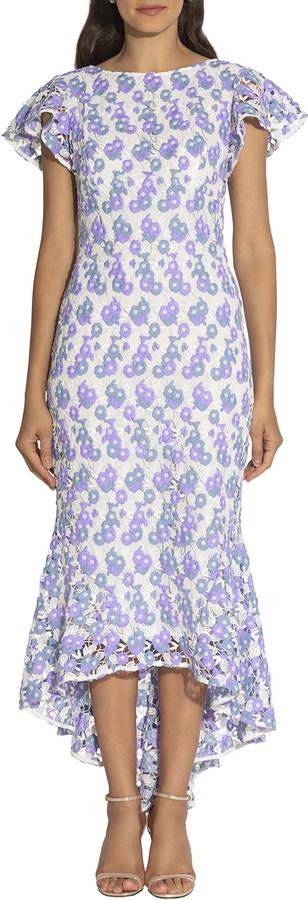 Shoshanna Genoveva Feliz Floral Lace High-Low Midi Dress