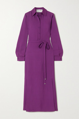Valentino Belted Crepe Maxi Dress - Purple