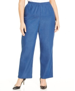 Alfred Dunner Plus Size Classic Denim Pull-On Straight-Leg Pants
