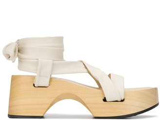 Jil Sander Lace-Up Wedge Sandals