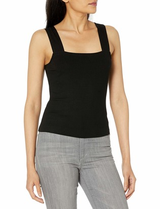 The Drop Women's Jody Square Neck Cropped Fitted Rib Knit Tank Top
