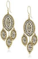Miguel Ases Pyrite Marquise Leaf Chandelier Drop Earrings