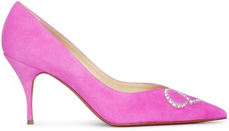 Christian Louboutin CL Pump Strass 80 pink suede pumps