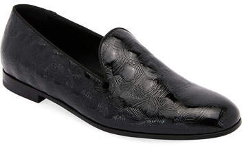 Giorgio Armani Textured Patent Leather Slip-On Loafer