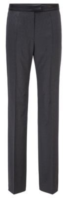 HUGO BOSS Regular Fit Pants With Faux Leather Waist - Grey