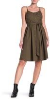 GOOD LUCK GEM Button Front Poplin Midi Dress