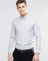 Asos Regular Fit Shirt In Gray Slub Texture