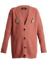 Rochas Bee-brooch oversized wool cardigan