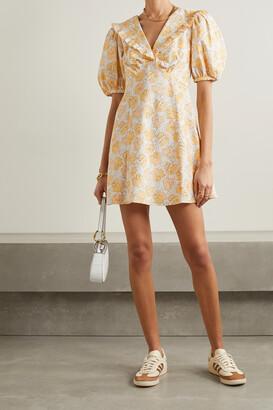 Rixo Kayla Ruffled Floral-print Cotton Mini Dress - Yellow