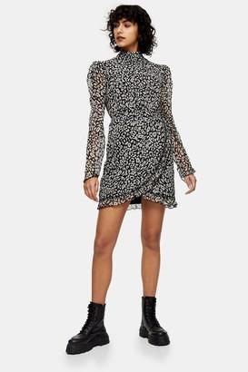 Topshop Black and White Animal Print Wrap Mini Dress