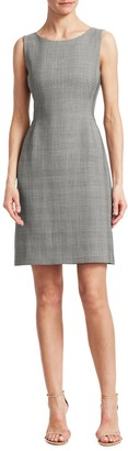 Akris Sleeveless Wool & Silk Glen Check Sheath Dress