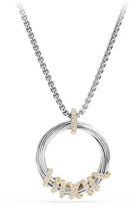 David Yurman Helena Medium Pendant Necklace with Diamonds & 18K Gold/21mm
