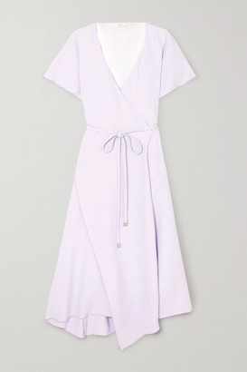 Rosetta Getty Cape-effect Crepe De Chine Midi Wrap Dress - Lilac