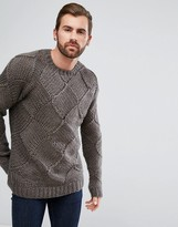 Asos Wool Mix Hand Knitted Jumper With All Over Texture