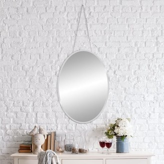 Patton Wall Decor 17x24 Frameless Beveled Oval Mirror With Hanging Chain