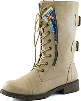 DailyShoes Military Lace Up Buckle Combat Boots Mid Knee High Exclusive Quilted Credit Card Pocket
