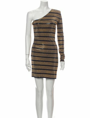 Balmain Striped Mini Dress Gold