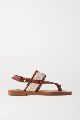 Chloé Woody Shearling And Leather Sandals - Beige
