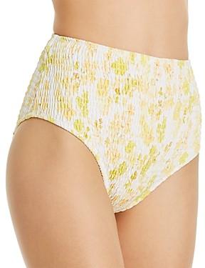 Charlie Holiday Cabo Smocked Brief Bikini Bottom