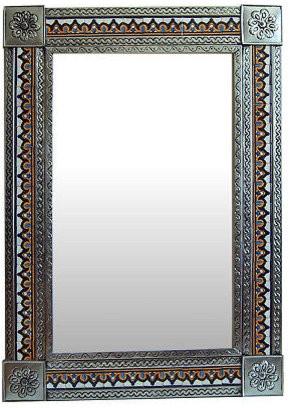 Fine Crafts & Imports Big Silver Milan Tile Talavera Tin Mirror