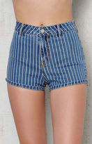 KENDALL + KYLIE Kendall & Kylie Super High Rise Striped Denim Shorts