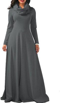 BSTWLKJ Women's Cowl Neck Long Sleeve Cotton Dress Casual Plain Fall Long Sleeve Maxi Shirts Deep Grey XL(EU M)