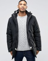 Bellfield Black Parka With Removable Cream Liner
