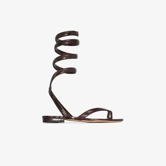 Bottega Veneta Brown Snake Print Leather Ankle Strap Sandals