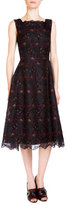 Erdem Mara Sleeveless Floral-Embroidered Dress, Black/Burgundy