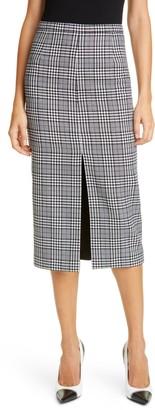 Michael Kors Collection Slit Plaid Wool Pencil Skirt