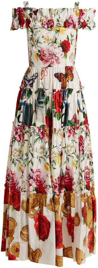 Dolce & Gabbana Contrasting-print tiered panel dress