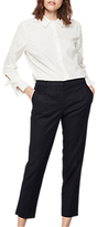 Mint Velvet Stretched Cotton Cropped Trousers, Deep Blue