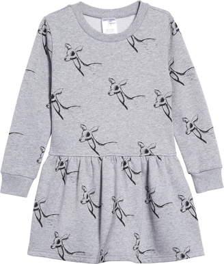 TINY TRIBE Deer Drop Waist Sweatshirt Dress