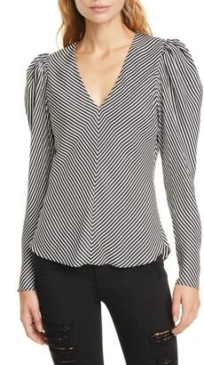 Frame Stripe Shirred Shoulder Silk Top
