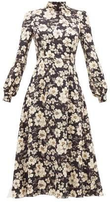 Goat Goldfinch Camelia-print Crepe Midi Dress - Womens - Black Multi