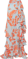 Johanna Ortiz - Costa Pacifica Printed Silk-georgette Maxi Skirt - Orange