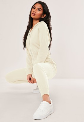 Missguided Cream Hooded Zip Up Jumpsuit