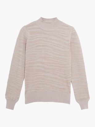Oasis Tiger Stripe Knit Jumper, Pale Grey