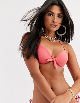 Accessorize padded bikini top with tie detail in coral