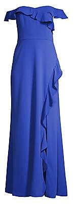 BCBGMAXAZRIA Women's Ruffled Off-The-Shoulder Gown