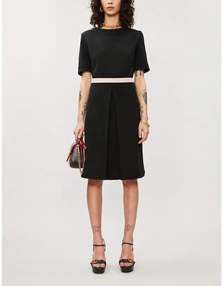 Gucci Branded-waistband wool-blend mini dress